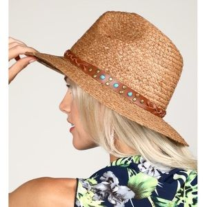 PANAMA HAT W/ BRAIDED TRIM